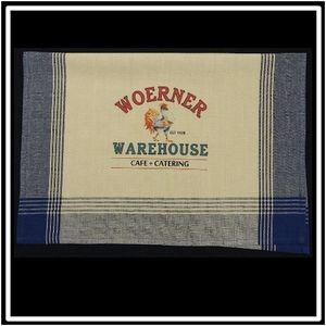 Navy/Tea Dyed Plaid Kitchen Towel with Custom Print
