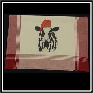 Red/Tea Dyed Plaid Kitchen Towel with Custom Print