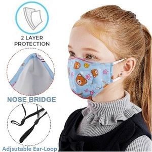 Kids Face Mask Full Color Custom Logo 2-Layer Safety Masks