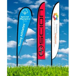 Zoom 6 Teardrop Flag w/ Stand - 19.7ft Single Sided Graphic